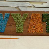 5 Letter String Art Wooden Name Tablet - Made to Order