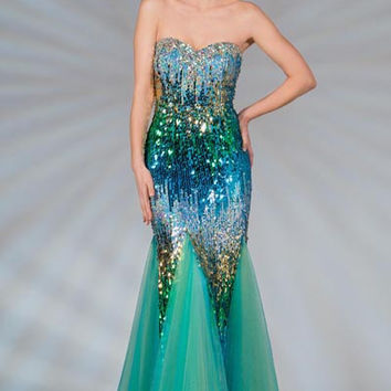 PRIMA C132517 Turquoise Blue Sequin Mermaid Prom Dress