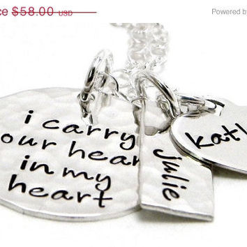 CHRISTMAS in JULY SALE I carry your heart in my heart necklace - Personalized Hand Stamped Jewelry