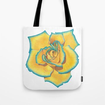 Yellow and Turquoise Rose Tote Bag by drawingsbylam