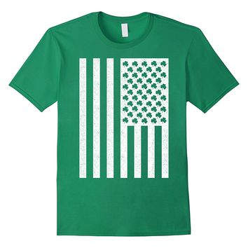St Patricks Day Shirts Shamrock American Flag