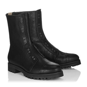 Jimmy Choo Women Fashion Leather Zipper Boots Shoes
