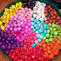 100 Rainbow Skull Turquoise Howlite Loose Beads Special Listing