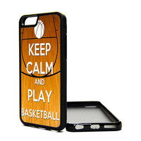 Apple iPhone 6 5C 5S 4S Generation Fitted Rubber Silicone TPU Phone Case Cover Keep Calm Carry On Play Basketball Sports Hoops Court