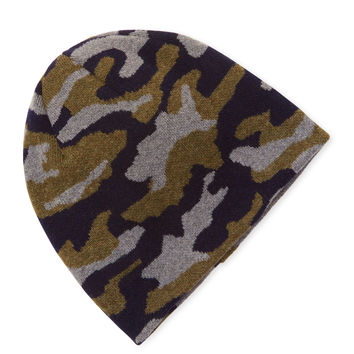 Desanto Men's Camo Wool Beanie - Dark Blue/Navy