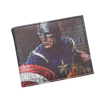 Fashion Collectible Superhero Anime Wallet Star Circle Shield CAPTAIN AMERICA Wallet Walet For Men Card Holder Cool Comics Purse