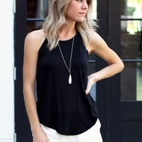 Cute Black Tank Top-Veronica M Banded Neck Tank-Black-$40.00 | Hand In Pocket Boutique