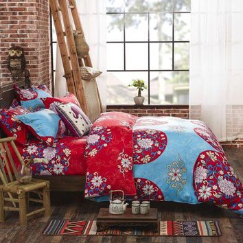 LMF78W Boho Bedding Set Floral Bed Linen Home Textiles Printed Duvet Cover Twin Queen couvre lit Direct Selling