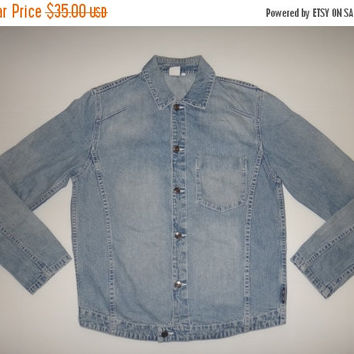 New Year Sale Armani Exchange Denim Jacket Acid Wash Chambray Single Pocket Inside AX Vintage Giorgio Fashion Designer Nice Design
