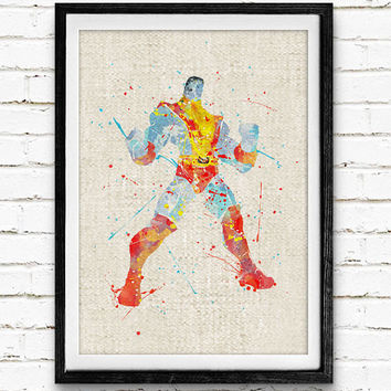 X-Men Colossus Watercolor Print, Marvel Superhero Poster, Kids Room Wall Art, Home Decor, Not Framed, Buy 2 Get 1 Free!