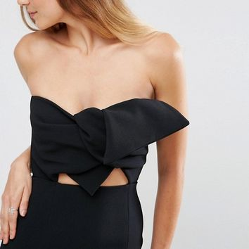 True Decadence Tall Bow Front Bandeau Pencil Dress With Split Detail at asos.com