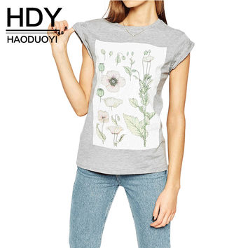 HDY Haoduoyi 2017 Summer Women Fashion Floral Print Solid Gray Crew Neck Short Sleeve Slim Tees Casual Loose Soft T-shirt
