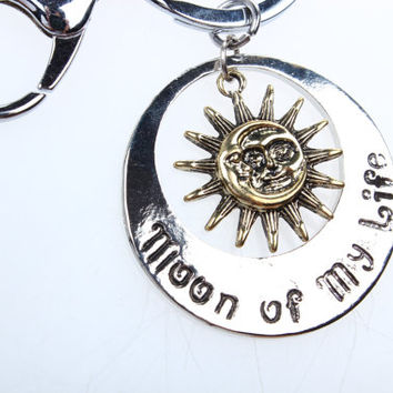 NEW~~silver and brass Sun and Moon Pewter Charm Celestial key ring,antique silver game of thrones sun and moon keychain jewelry