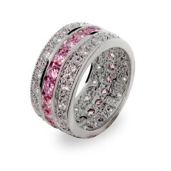 Pink and White Cubic Zirconia Cubic Zirconia Ring in Sterling Silver-Tone