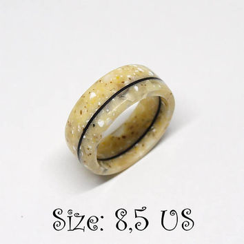 Size 8,5 US, Staron ring, Wood ring, Wooden ring, Ebony ring, Acrylic ring, Resin ring, Band ring, Engagement ring, Statement ring