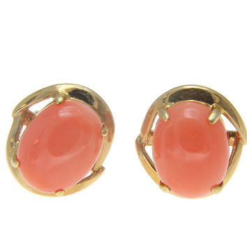 GENUINE NATURAL OVAL CABOCHON PINK CORAL STUD EARRINGS SOLID 14K YELLOW GOLD