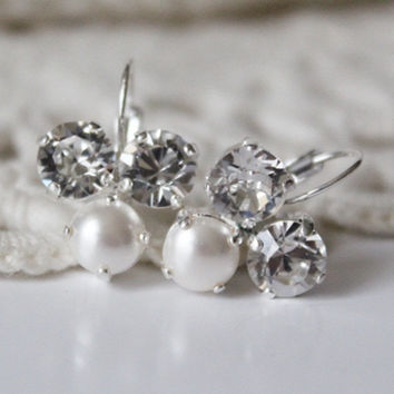 White Pearl Earrings, Rhinestone Earrings, Leverback Earrings, Crystal Trio, Swarovski Rhinestones, Bridesmaid Gift