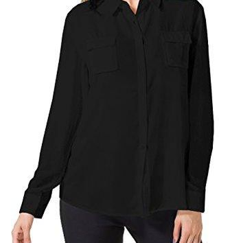 Double Plus Open DPO Womens Chiffon Casual Button Down Shirt Long Sleeve Loose Blouse Chest Pockets