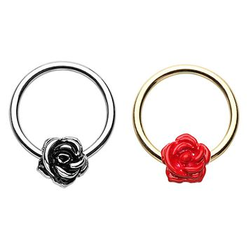 Golden Red & Silver Rose Petal Steel Captive Bead Ring