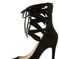 Lofty Ambitions Black Lace-Up Heels
