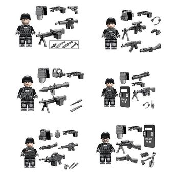 6pcslot SWAT Ghost Soldier Military Figure Set Weapon Gun Building Blocks Sets Models Bricks Compatible LegoING Toy  For Kids