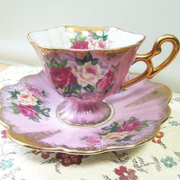 Vintage Royal Halsey very fine rose tea cup saucer - Footed pink tea cup saucer with red yellow pink roses