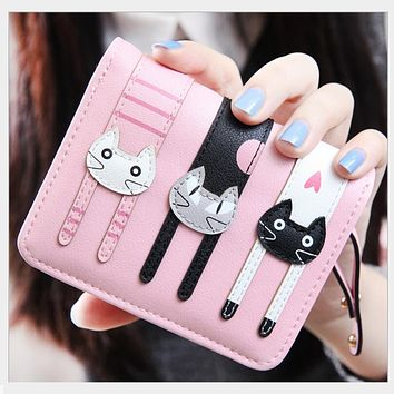 new 2016 pink cat wallet girl small leather wallet female cheap coin purses christmas gifts for kids wallets for women