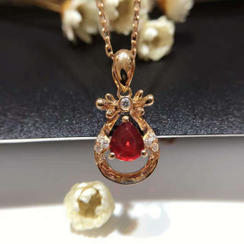 Pendant Necklaces Main Stone: Ruby Metals Type: Rose Gold
