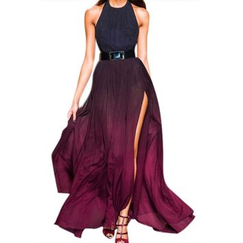 Women Bohemian Style Halter Backless Plated High Slit Beach Long Chiffon Dress