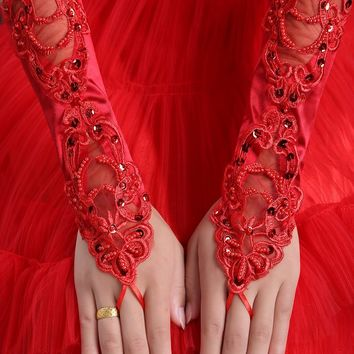 women's fashion gloves sexy red fingerless gloves red paillette lace  gloves red long design gloves