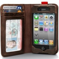 Leather Read BookBook Case for iPhone 4 / 4s