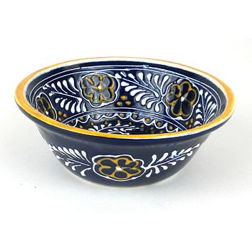 Mexican Ceramic Pottery Small Bowl - Blue