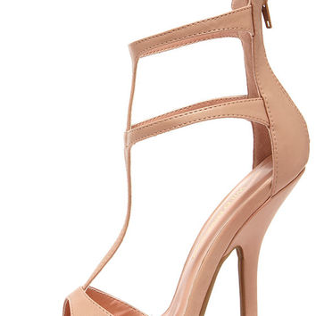 Wild Diva Lounge Cecily 08A Nude T-Strap High Heel Sandals