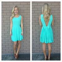 Mint Victoria Bow Low Back Dress