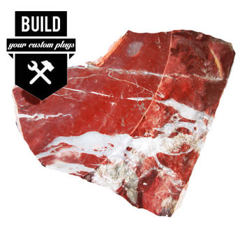 """Build Your Red River Jasper Stone Plugs (2g-3"""")"""