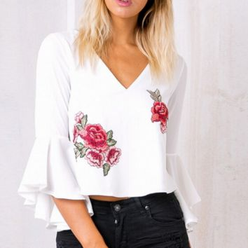 Hot sale white V neck embroidery flare sleeve chiffon shirt