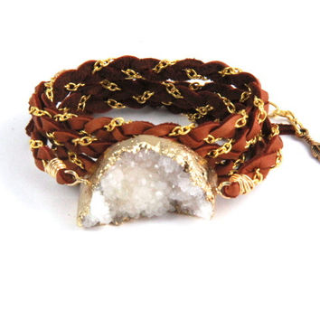 Braided Leather Wrap Bracelet - White Geode