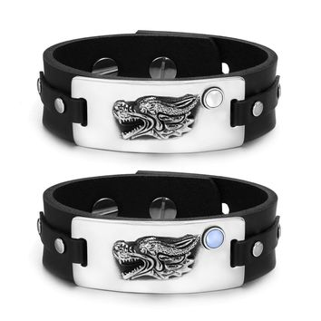 Courage Dragon Protection Amulets Love Couples Set Blue White Simulated Cats Eye Leather Bracelets