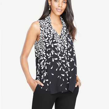 Falling Leaves Tie Neck Button Shell | Ann Taylor