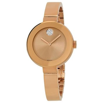 Movado Bold Rose Dial Rose Gold Ion-plated Ladies Watch 3600202
