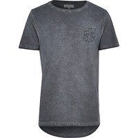 River Island MensGrey motorcycle curved hem t-shirt