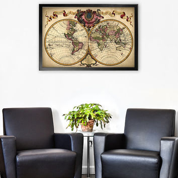 Vintage World Map Wall Art Poster - Travel Decor - Vintage Map Reproduction  Antique Map Print  - Vintage Map of the World Poster - 0703