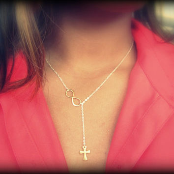 Cross and Infinity Larait Necklace, Sterling silver and gold, mixed Metals