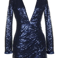 Midnight Glitz Dress | Navy Blue Sequin Long-Sleeve Dresses | RicketyRack.com
