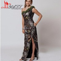 New Camo Bridesmaid Dresses 2017 One Shoulder Summer Beach Split High Side Front Plus Size Maid Of Honor Party Gowns LY052