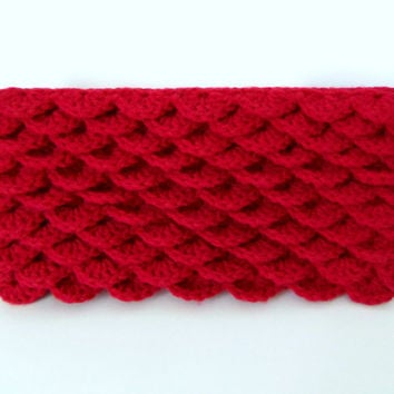 handknit flower petal clutch purse in raspberry - knitted pinkish red pouch with crochet scalloped stitch front flap lined in floral print