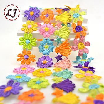 New arrived 1 yard high quality embroidered colorful daisy flower lace trim sewing crafts women child cloth scrapbooking DIY