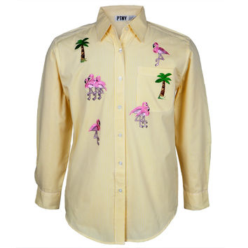 Yellow Stripe Pink Flamingos Men's Button Down T-Shirt