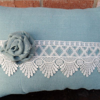 """Blue Burlap Pillow with Beautiful Lace and Handmade Rose, cottage style, wedding decor, decorative pillow, 14"""" x 18"""""""
