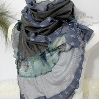 Deep coffee scarf, Gray brown scarf, Unique handmade scarf, Women gifts, Gray silver scarf, Stone color Patchwork shawl, Deep brown shawl